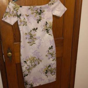 Floral-Print Off-The-Shoulder Sheath Dress